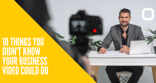 """A man smiling at a camera, and the words """"10 things you didn't know your business video could do"""""""