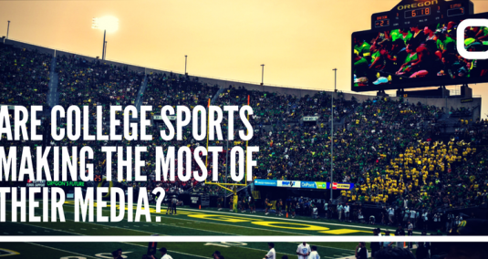 "A sports game and crowd, and the words ""Are college sports making the most of their media?"""