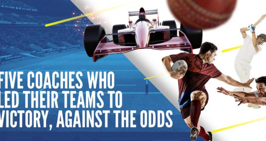 """Sports players, and the words """"Five coaches who led their teams to victory, against the odds"""""""