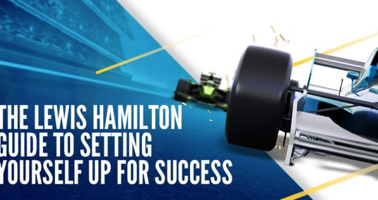 "A sports car and the words ""The Lewis Hamilton guide to setting yourself up for success"""