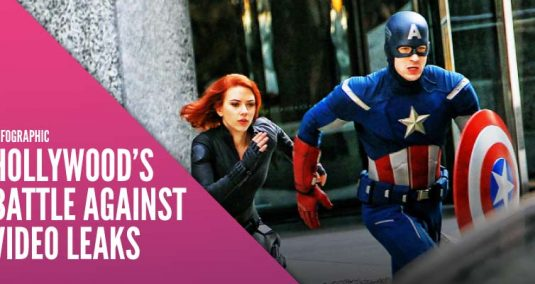 """Captain America and Black Widow, and the words """"Hollywood's Battle Against Video Leaks"""""""