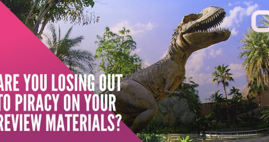 """A dinosaur, and the words """"Are you losing out to piracy on your review materials?"""""""
