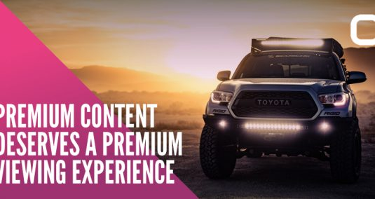 "An SUV Toyota, and the words ""Premium content deserves a premium viewing experience"""