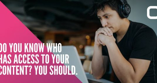 """A man watching a computer screen and the words """"Do you know who has access to your content? You should."""""""