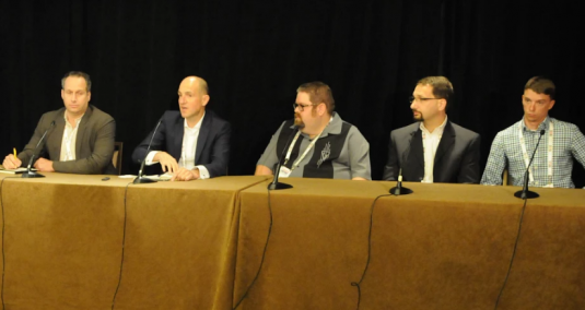 Five speakers at a SVG SCMS Forum