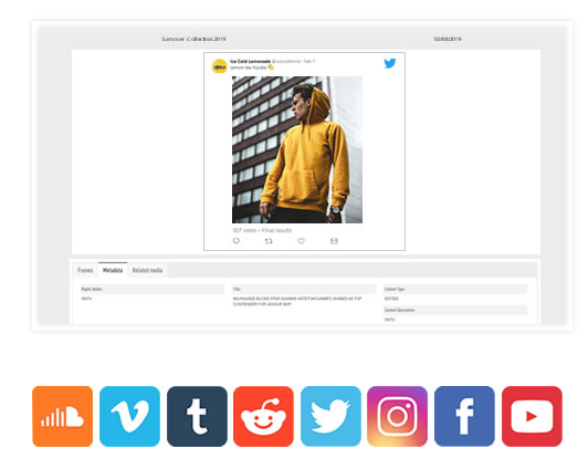 Archive Social Media Posts within Imagen