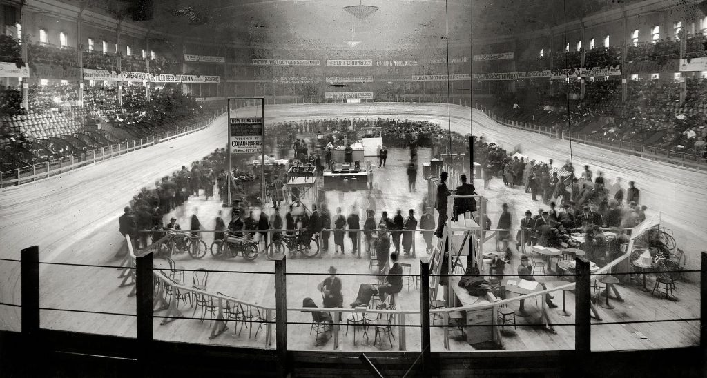 A six day race at Madison Square Garden, December 1908