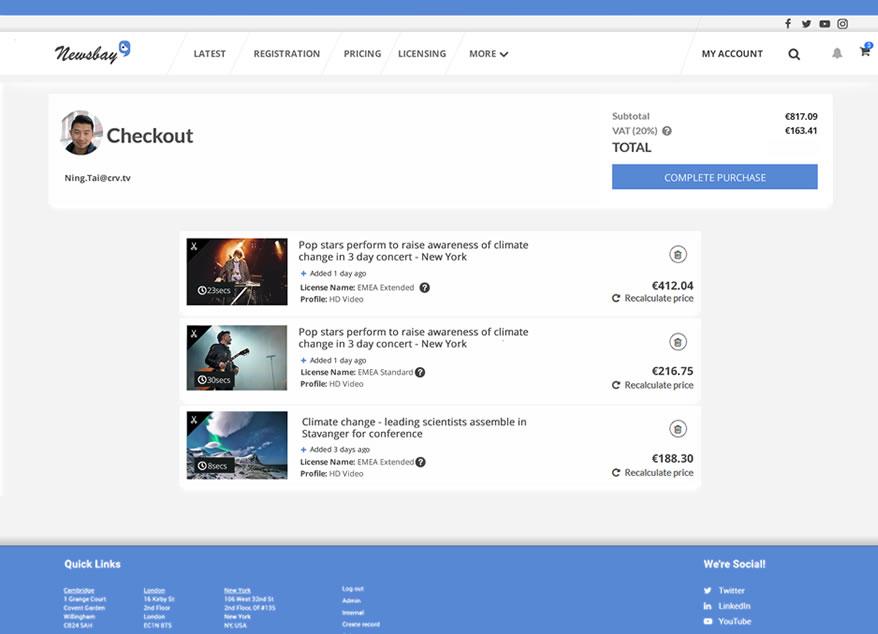 Imagen's Shopping Basket e-commerce platform for video